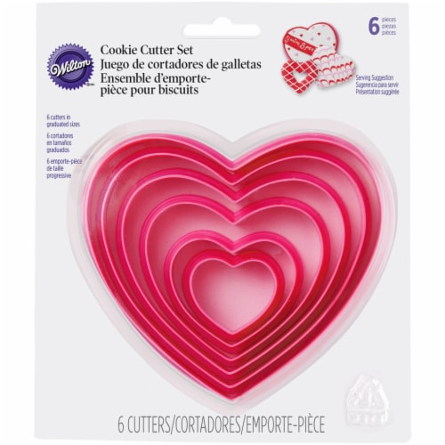 Wilton Nesting Hearts Pink Cookie Cutter Set Perspective: front