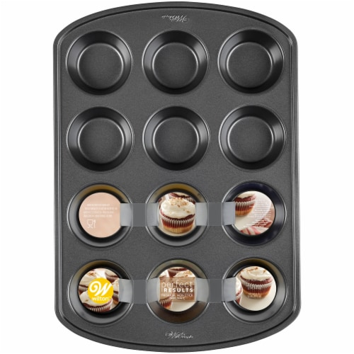 Wilton Perfect Results 12-Cup Non-stick Muffin Pan - Black Perspective: front