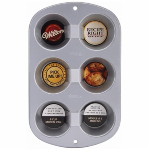 Wilton W2105953 Recipe Right Regular Muffin Pan-6 Cavity Perspective: front