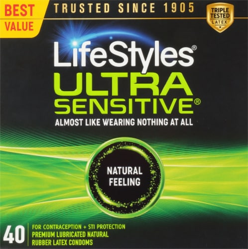 LifeStyles Ultra Sensitive Lubricated Condoms Perspective: front
