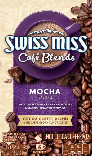 Swiss Miss Cafe Blends Mocha Flavored Hot Cocoa Coffee Mix Perspective: front