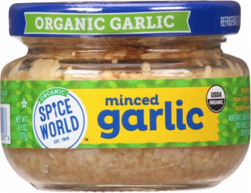 Spice World Organic Minced Garlic Perspective: front