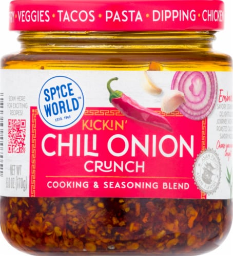 Spice World Kickin' Chili Onion Crunch Seasoning Blend Perspective: front