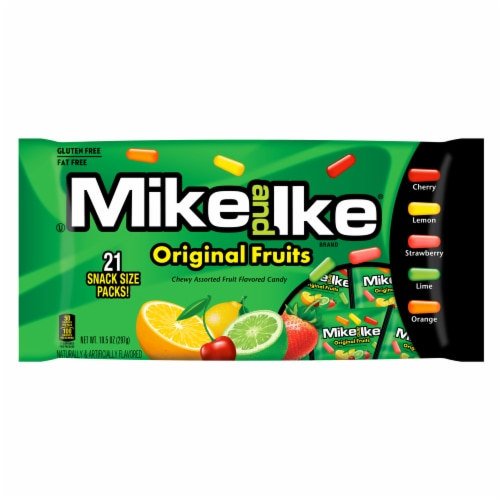 Mike & Ike Original Fruits Chewy Assorted Fruit Flavored Candy Perspective: front