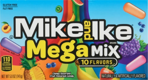 Mike & Ike Mega Mix Chewy Assorted Fruit Flavored Candies Perspective: front