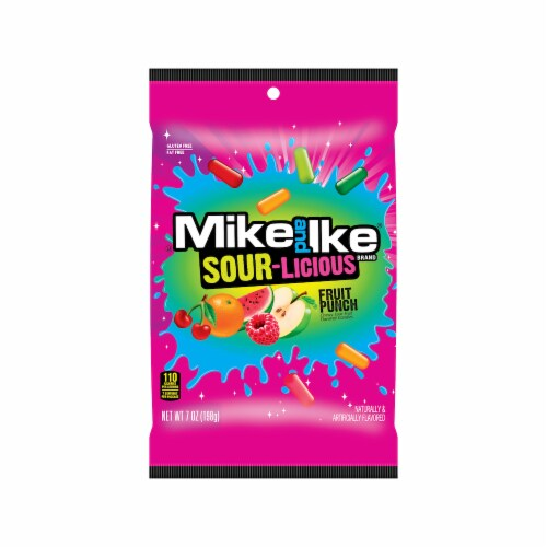 Mike and Ike Sour-Licious Fruit Punch Chewy Sour Candies Perspective: front