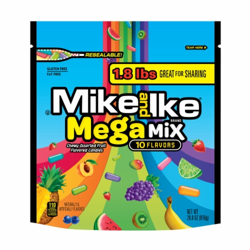 Mike & Ike Mega Mix Chewy Assorted Fruit Flavored Candy Perspective: front