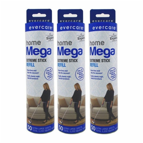 evercare Pet Mega Extreme Surface Coverage 50 Layer Lint Roller Refill, 6 Pack Perspective: front