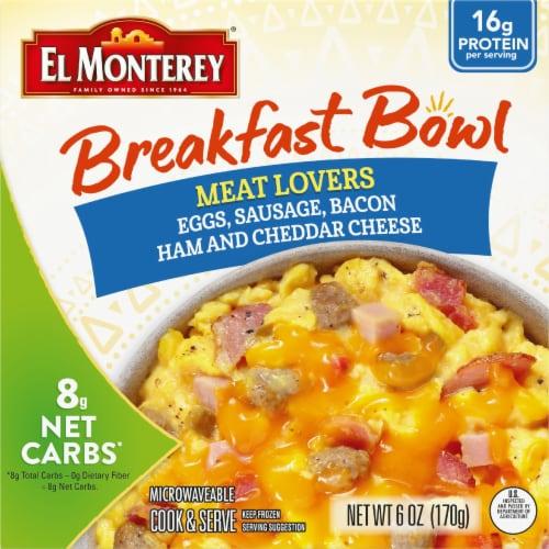 El Monterey Meat Lovers' Breakfast Bowl Frozen Meal Perspective: front