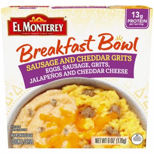 El Monterey Sausage & Cheddar Grits Breakfast Bowl Frozen Meal Perspective: front