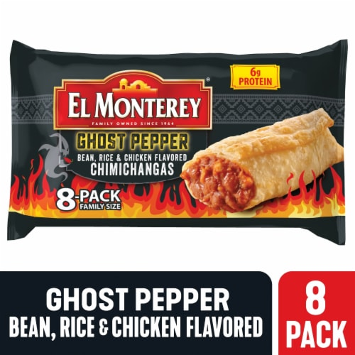 El Monterey Ghost Pepper Bean Rice & Chicken Chimichangas Perspective: front