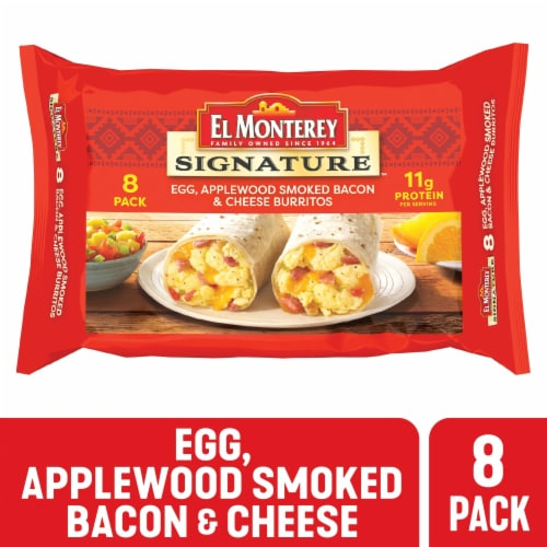 El Monterey Egg Applewood Smoked Bacon & Cheese Burritos 8 Count Perspective: front