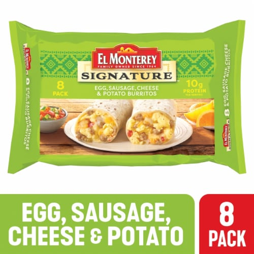 El Monterey Signature Egg Sausage Cheese & Potato Burritos Perspective: front
