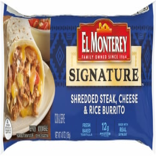 El Monterey Signature Shredded Steak Cheese & Rice Burrito Perspective: front
