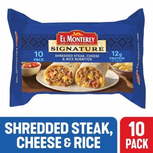 El Monterey Signature Shredded Steak & Three-Cheese Burritos Perspective: front