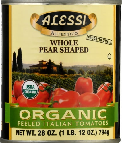 Alessi Whole Pear Shaped Organic Peeled Italian Tomatoes Perspective: front