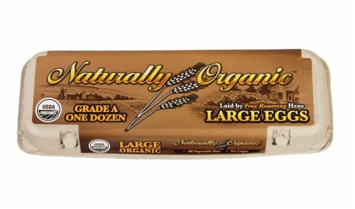 Naturally Organic Grade A Large Brown Eggs Perspective: front