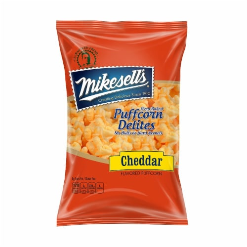 Mikesell's Oven Baked Cheddar Puffcorn Delites Perspective: front