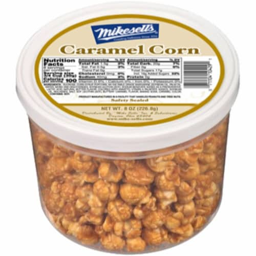 Mikesell's Caramel Corn Canister Perspective: front