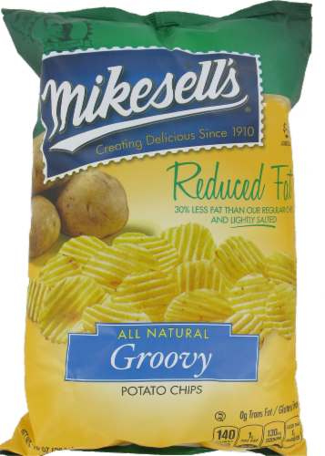 Mikesell's Reduced Fat Groovy Potato Chips Perspective: front