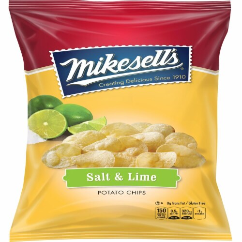 Mikesell's Salt and Lime Potato Chips Perspective: front