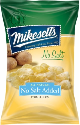 Mikesell's Potato Chips No Salt Added Perspective: front