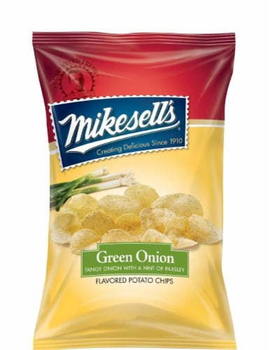 Mikesell's Green Onion Potato Chips Perspective: front