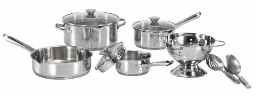 T-fal Cook & Strain Stainless Steel Cookware Set Perspective: front