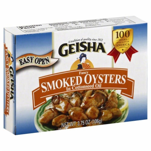 Geisha Fancy Smoked Oysters in Cottonseed Oil Perspective: front