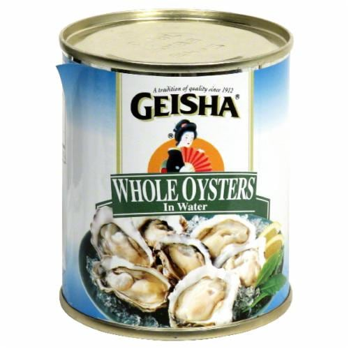 Geisha Whole Oysters in Water Perspective: front