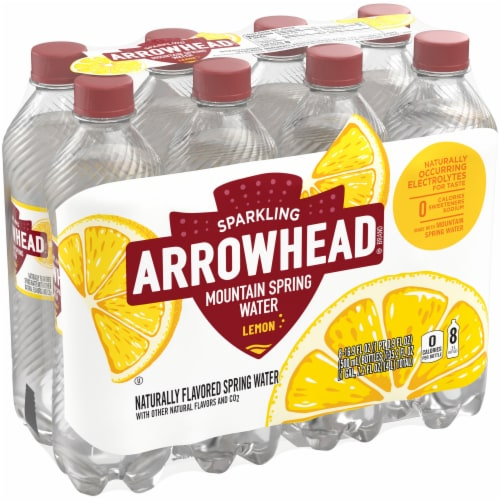 Arrowhead Lemon Sparkling Mountain Spring Water Perspective: front