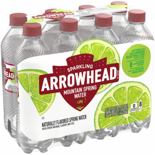 Arrowhead Lime Sparkling Mountain Spring Water Perspective: front