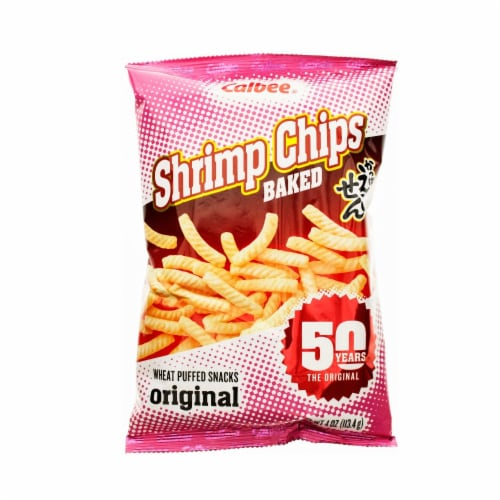 Calbee Baked Shrimp Chips Original Wheat Puffed Snacks Perspective: front