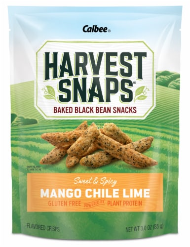Harvest Snaps Mango Chile Lime Black Bean Snack Crisps Perspective: front