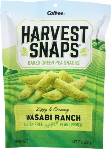 Harvest Snaps Wasabi Ranch Green Pea Snack Crisps Perspective: front
