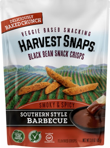 Harvest Snaps Southern Style Barbecue Black Bean Snack Crisps Perspective: front