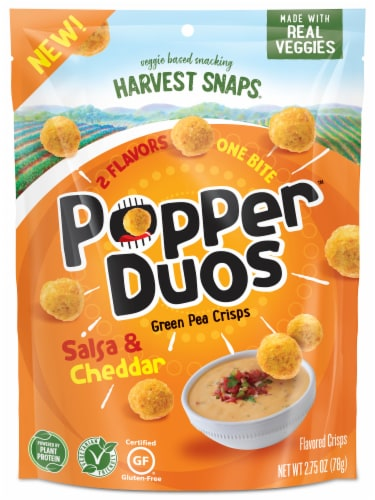 Harvest Snaps Popper Duos Salsa & Cheddar Green Pea Crisps Perspective: front