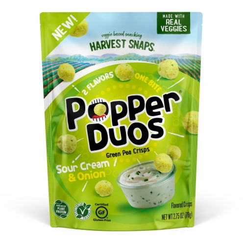 Harvest Snaps Popper Duos Sour Cream & Onion Green Pea Crisps Perspective: front