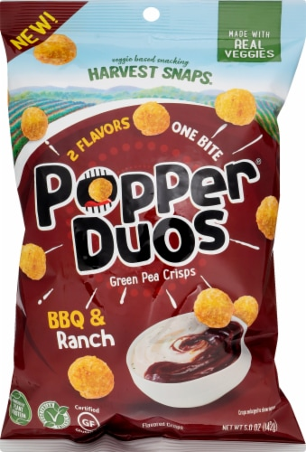 Harvest Snaps Popper Duos BBQ & Ranch Green Pea Crisps Perspective: front