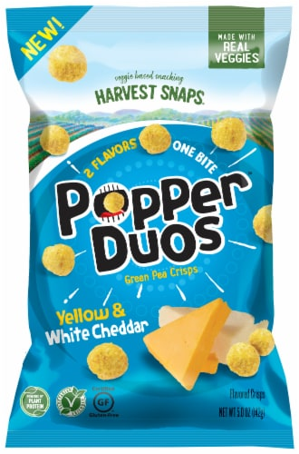 Harvest Snaps Popper Duos Yellow & White Cheddar Green Pea Crisps Perspective: front