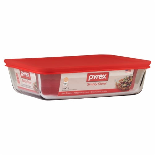 Pyrex Covered Storage Dish - Clear/Red Perspective: front