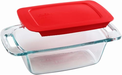 Pyrex Easy Grab Loaf Dish With Lid - Red/Clear Perspective: front