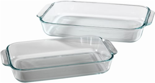 Pyrex Basics Oblong Glass Baking Dishes - Clear Perspective: front