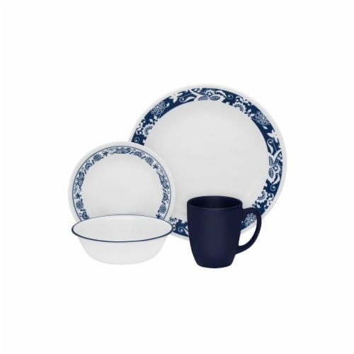 Corelle® Livingware Dinnerware Set - True Blue/White Perspective: front