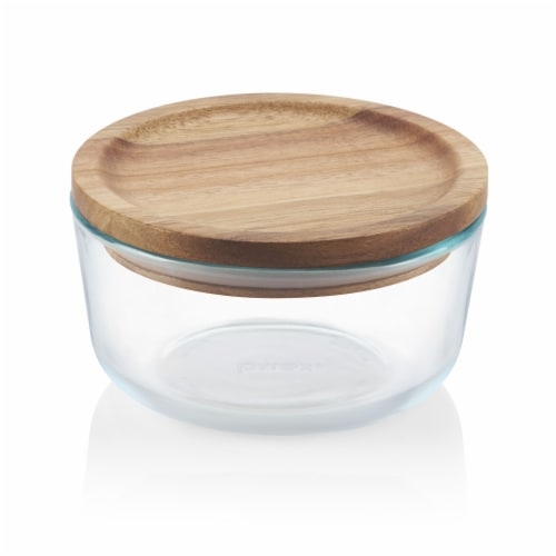 Pyrex Wooden Storage Container with Lid Perspective: front