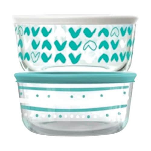 Pyrex 4 Cups Food Storage Container Set - Clear, Turquoise & White - 2 per Pack Perspective: front