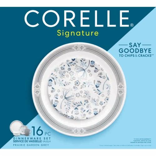 Corelle® Signature Prairie Garden Gray Dinnerware Set - White/Gray/Blue Perspective: front