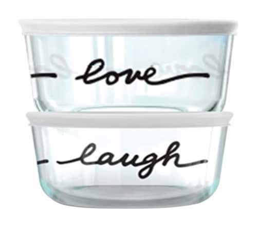 Pyrex Round Food Storage Container Set - 2 Pack - Black / Clear Perspective: front