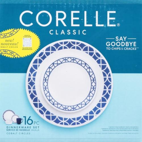 Corelle® Circles Tableware Set - Cobalt/White Perspective: front