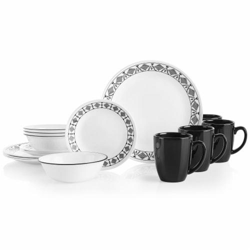 Corelle® Cusco Tableware Set - Black/White Perspective: front